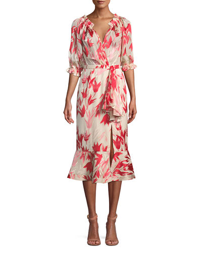 Olivia Printed Silk Midi Dress