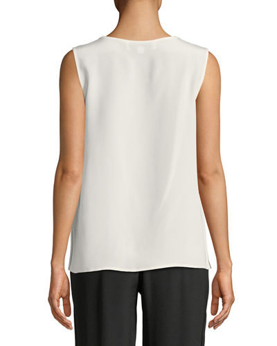 Mid-Length Silk Crepe Tank Top, Petite