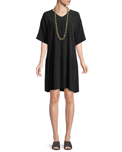 Viscose-Crepe Drop-Waist Dress, Petite