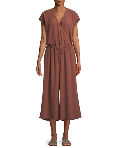 Image 1 of 3: Eileen Fisher Plus Size Crepe Cropped Jumpsuit