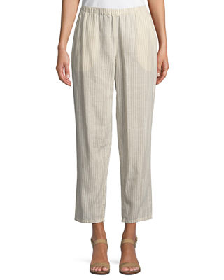 Eileen Fisher Striped Hemp-Blend Relaxed-Leg Ankle Pants, Petite
