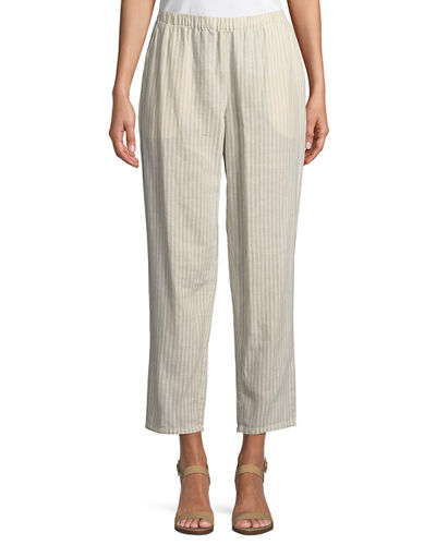 Striped Hemp-Blend Relaxed-Leg Ankle Pants, Petite