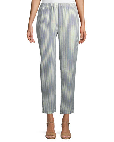 Striped Hemp-Blend Relaxed-Leg Ankle Pants