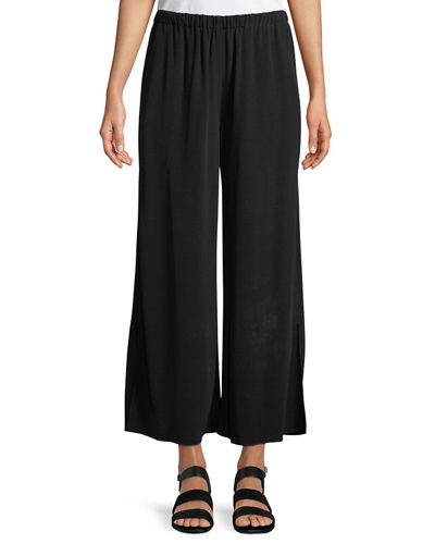 Crepe Wide-Leg Ankle Pants, Plus Size