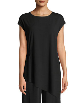 Eileen Fisher Jewel-Neck Viscose-Jersey Top, Plus Size