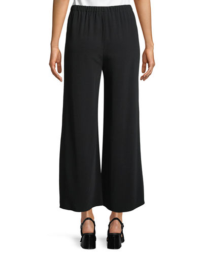 Crepe Wide-Leg Ankle Pants
