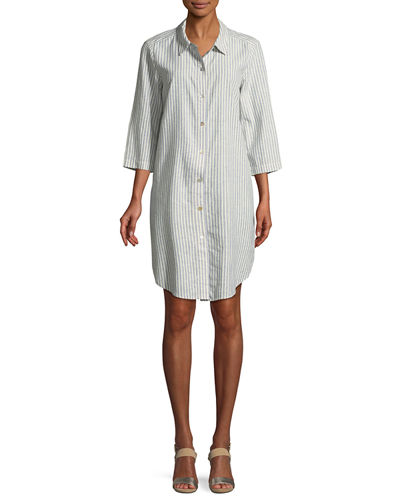 Petite Striped Hemp-Blend Shirtdress