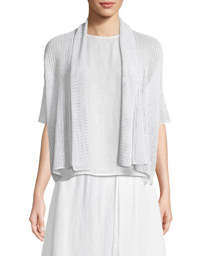 Organic Linen Open-Weave Short Cardigan, Plus Size