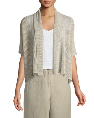 Eileen Fisher Organic Linen Loose-Knit Short Cardigan and
