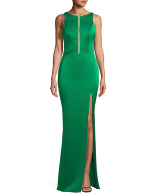 Image 1 of 2: Crepe Satin Cutout Sleeveless Zip Gown