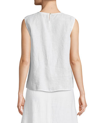 Image 2 of 3: Round-Neck Linen Tank