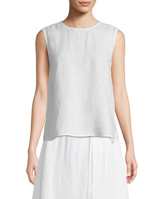 Image 1 of 3: Round-Neck Linen Tank