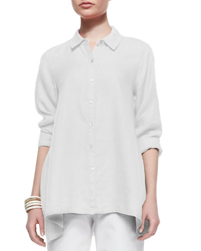 Eileen Fisher Button-Front Organic Linen Boxy Shirt, Plus