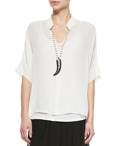Eileen Fisher 3/4-Sleeve Silk Box Top & Silk