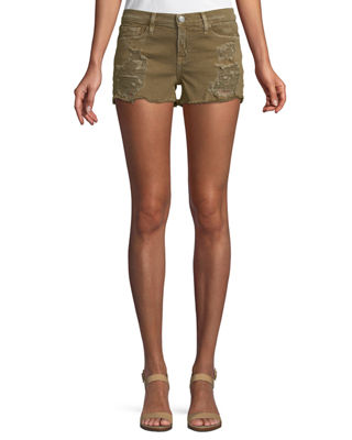 ETIENNE MARCEL Distressed Denim Shorts in Green