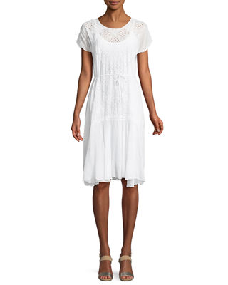 Vice Eyelet-Embroidered Drop-Waist Dress