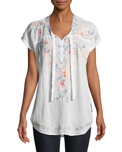 Dreaming Embroidered Tie-Front Blouse
