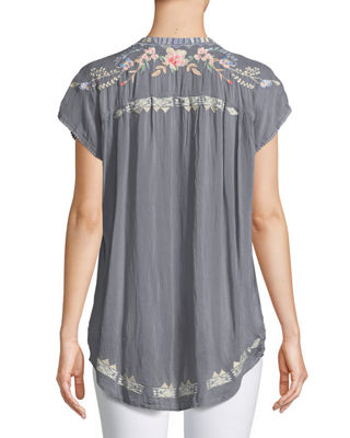 Image 2 of 4: Dreaming Embroidered Tie-Front Blouse