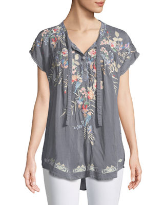 Johnny Was Dreaming Embroidered Tie-Front Blouse