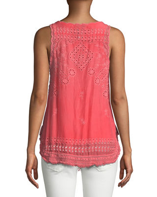 Image 2 of 4: Eyelet Embroidered Fringe-Trim Tank, Plus Size