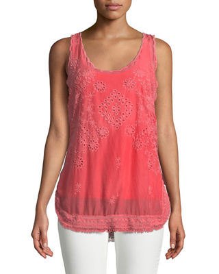 Johnny Was Eyelet Embroidered Fringe-Trim Tank