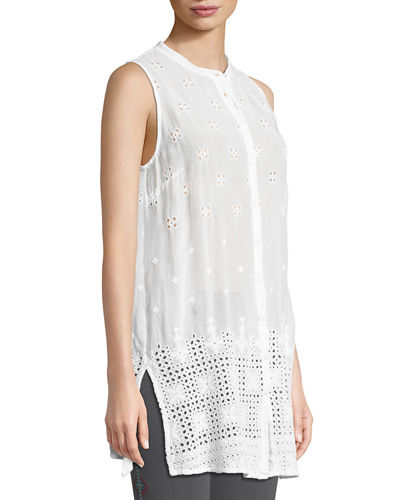 Darla Sleeveless Long Button-Front Tunic