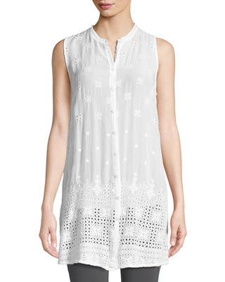 Johnny Was Darla Sleeveless Long Button-Front Tunic, Plus