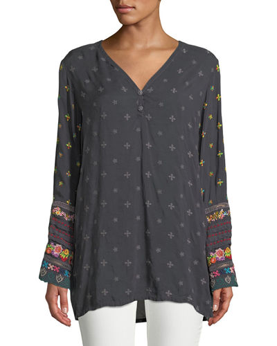 Embroidered-Trim Long-Sleeve Tunic