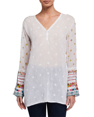 Johnny Was Embroidered-Trim Long-Sleeve Tunic and Matching Items