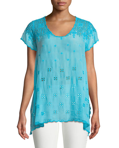 Darla Eyelet-Embroidered Easy Tunic, Plus Size