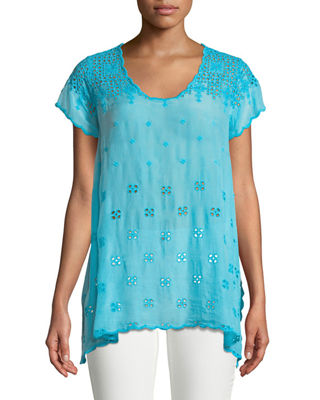 Johnny Was Darla Eyelet-Embroidered Easy Tunic