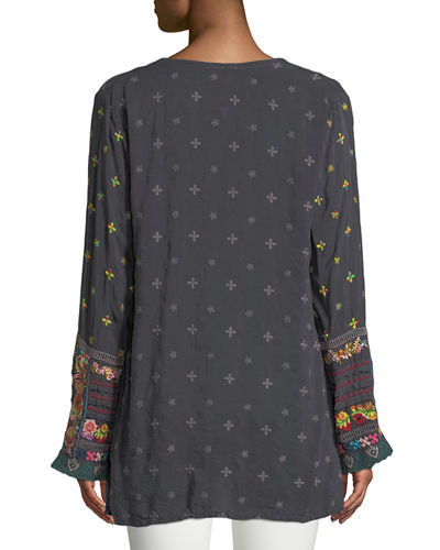 Embroidered-Trim Long-Sleeve Tunic, Plus Size