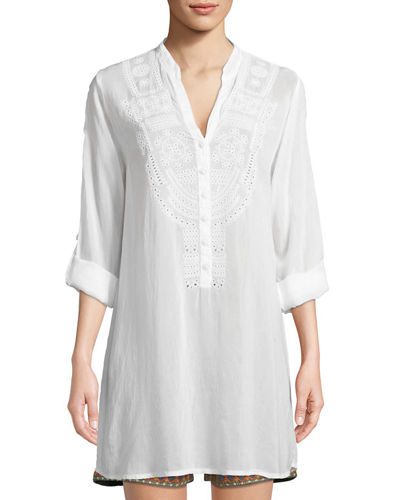 Eyelet-Embroidered V-Neck Tunic