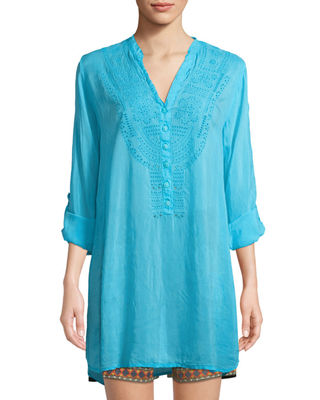 Image 1 of 2: Eyelet-Embroidered V-Neck Tunic