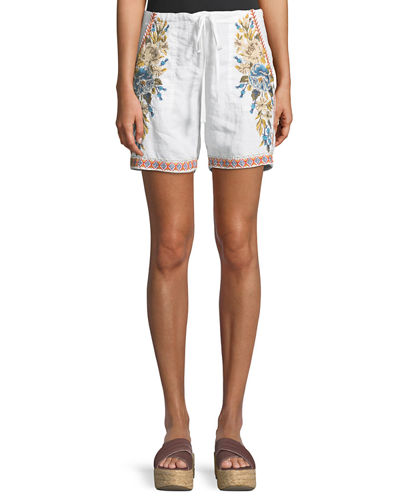 Johnny Was Hira Embroidered Linen Shorts