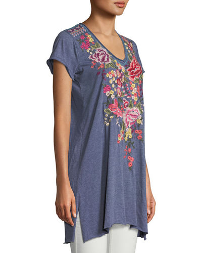 Johnny Was Plus Size Adeline Short-Sleeve Draped Long V-Neck Tunic