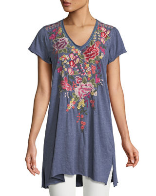 Johnny Was Adeline Short-Sleeve Draped Long V-Neck Tunic,
