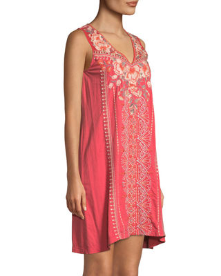 Image 3 of 4: Calida Sleeveless Embroidered Tank Tunic, Plus Size