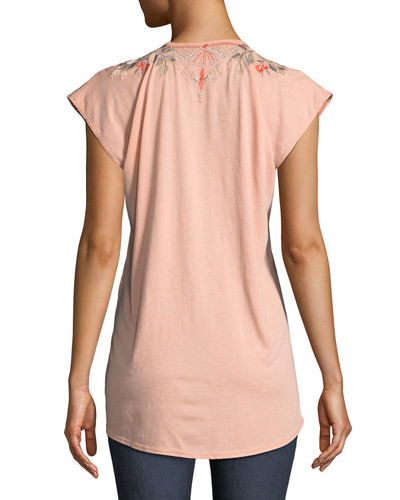 Calida Scoop-Neck Embroidered Tee, Plus Size