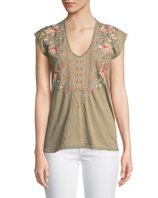 Calida Scoop-Neck Embroidered Tee