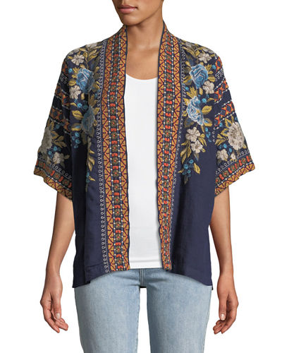 Johnny Was Vino Tasseled Floral-Print Silk Scarf and