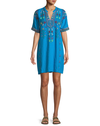 Clover Linen Embroidered Tunic, Plus Size