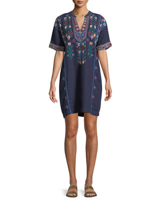 Johnny Was Clover Linen Embroidered Tunic, Plus Size
