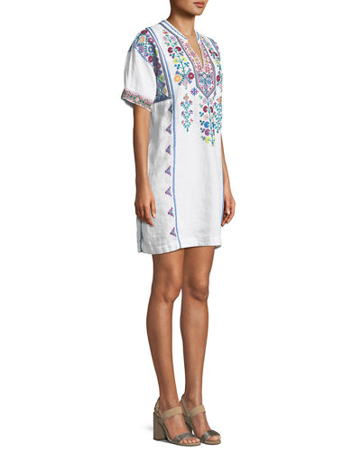 Clover Linen Embroidered Tunic