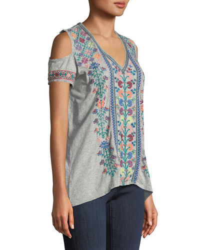 Clover Cold-Shoulder Embroidered Tee, Plus Size