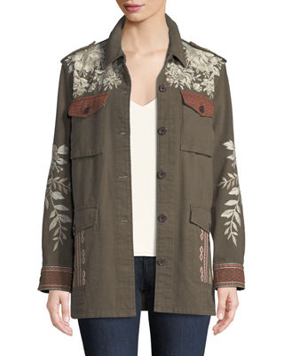 Johnny Was Surya Embroidered Military Jacket, Plus Size