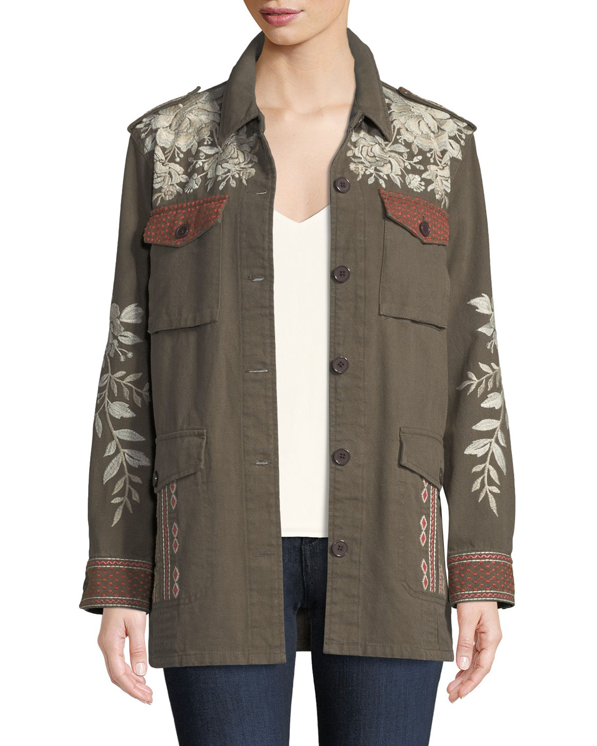 Johnny Was Surya Embroidered Military Jacket, Plus Size ...