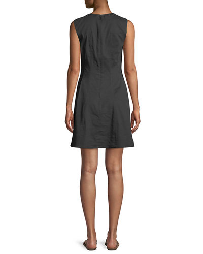 Modern Linen Sleeveless Shift Dress