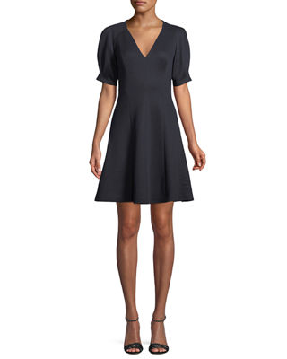 Derek Lam 10 Crosby Woman Tie-front Grosgrain-trimmed Velvet Dress Navy Size 0 Derek Lam
