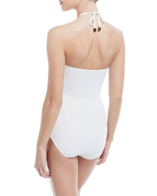 Image 2 of 2: bandeau halter one-piece swimsuit